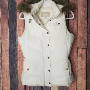 Banana Republic Puffy Vest with Faux Fur Hood